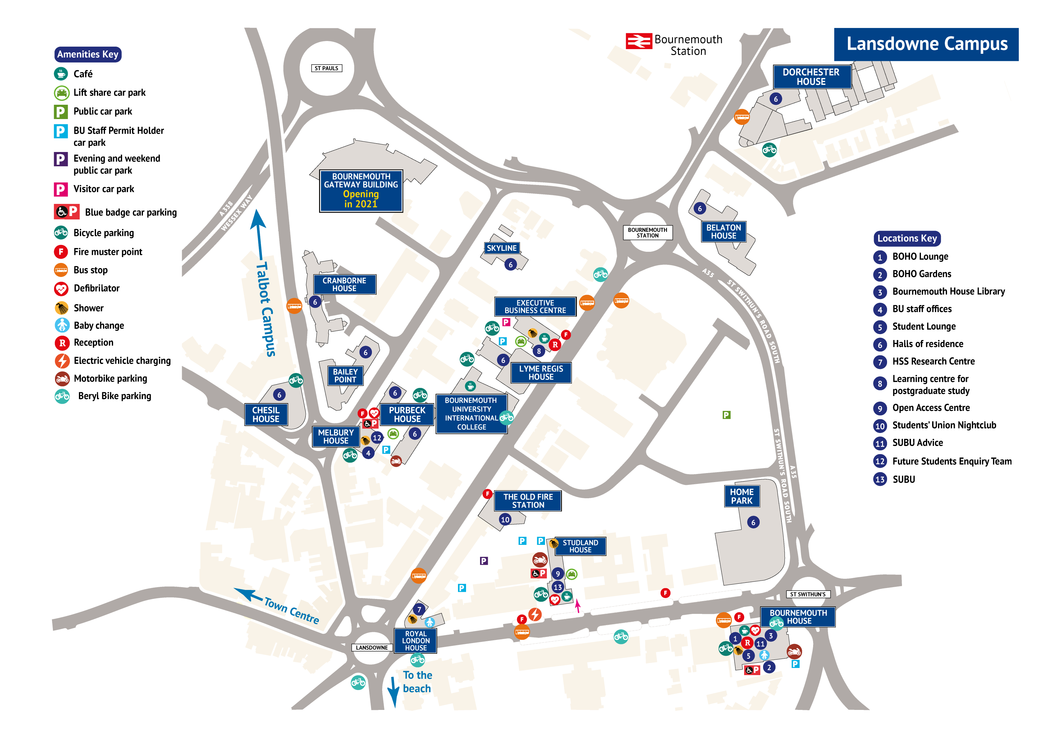 map of Lansdowne Campus with points on interest. Contact formats@bournemouth.ac.uk if you require this in braile or large print.