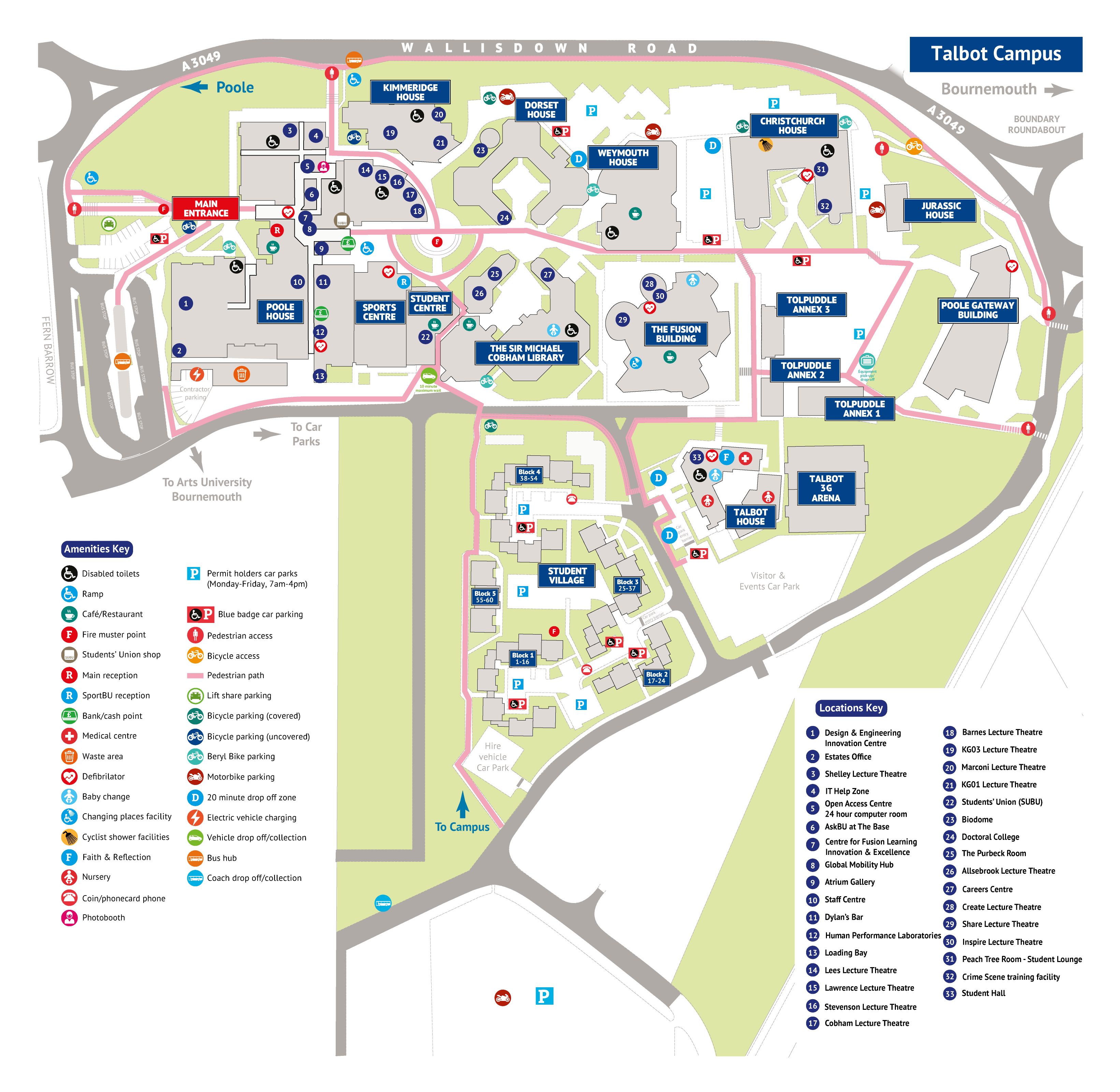 map of Talbot Campus with points on interest. Contact formats@bournemouth.ac.uk if you require this in braile or large print.
